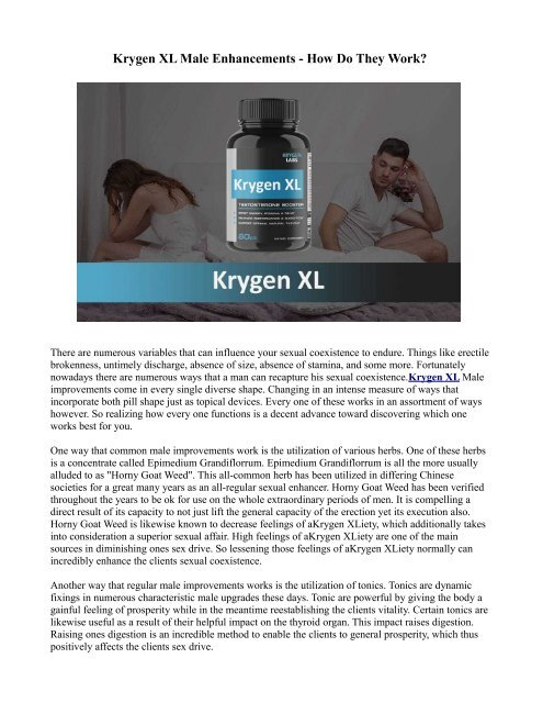 How Does Krygen XL Male Enhancement Works?