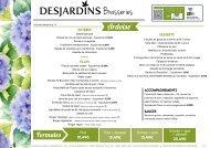 Menu - brasserie Desjardins