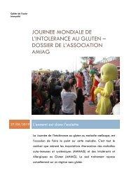 Journée mondiale de l'intolérance au gluten - dossier de l'association AMIAG