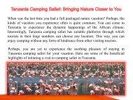 Tanzania Camping Safari: Bringing Nature Closer to You