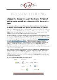 Pressemitteilung Calligraphy Cut Kooperation Forschung und Wissenschaft