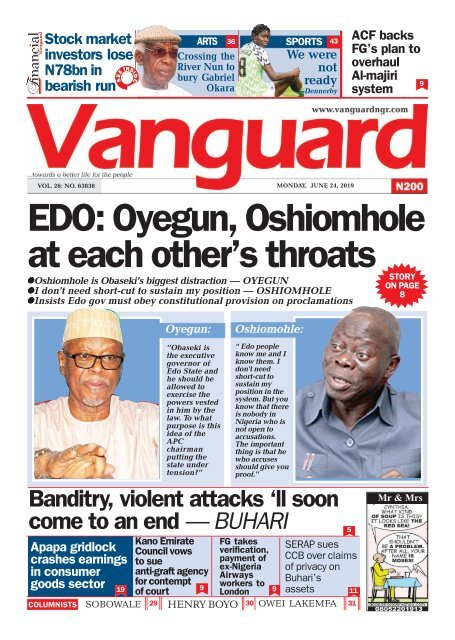 24062019 - EDO Oyegun Oshiomhole ateach  others troats