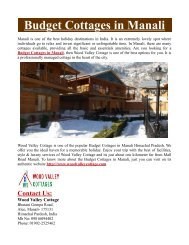 Budget Cottages in Manali