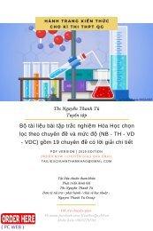 Bộ tài liệu bài tập trắc nghiệm Hóa Học chọn lọc theo chuyên đề và mức độ (NB - TH - VD - VDC) gồm 19 chuyên đề có lời giải chi tiết