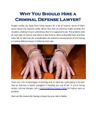 Why You Should Hire a Criminal Defense Lawyer?