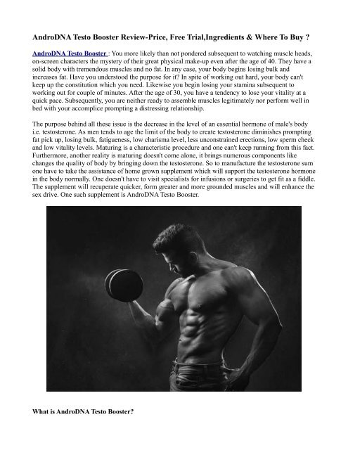 Presenting AndroDNA Testo Booster Supplement