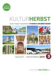 Kulturherbst 2019 • Reisekatalog August bis November