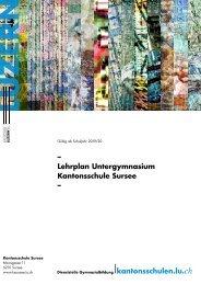 Kantonsschule Sursee Lehrplan Untergymnasium, gültig ab Schuljahr 2019/20