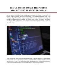 Useful Points to Get the Perfect Algorithmic Trading Program