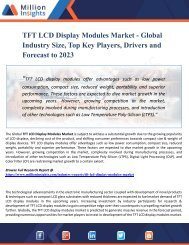TFT LCD Display Modules Market Top Manufacturers, Growth, Trends, Competitive Landscape, Price and Forecasts to 2023
