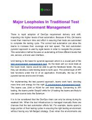 Major Loopholes in Traditional Test Enviornment Managment