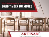 Unique Furniture Manufacturers in Australia - Artisan Furniture Australia