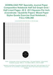 DOWNLOAD PDF Specialty Journal Paper Composition Notebook Half 5x5 Graph Grid / Half Lined Pages .20 X .20 5 Squares Per Inch (Coordinate / Quadrille Paper): Mixed Paper Styles Quads Exercise Dual Notebook | FULL+ONLINE