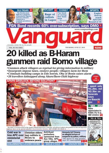 27062019 - 20 killed as B-Haram gunmen raid Borno village