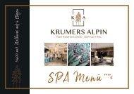 Krumers ALPIN  | SPA MENÜ 2019 | Deutsch
