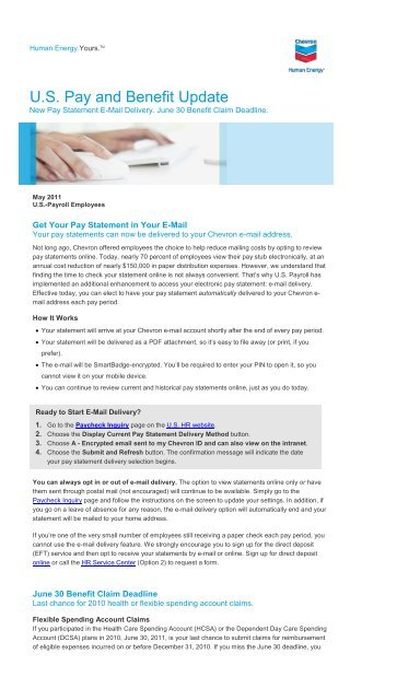 U S  Pay and Benefit Update - Chevron Human Resources