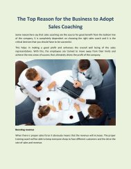 The Top Reason for the Business to Adopt Sales Coaching