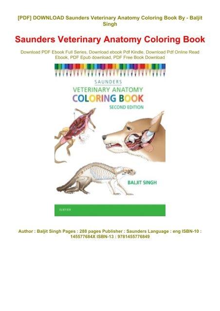 P.d.f Download *Saunders Veterinary Anatomy Coloring Book* Full_online