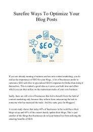 Surefire Ways To Optimize Your Blog Posts
