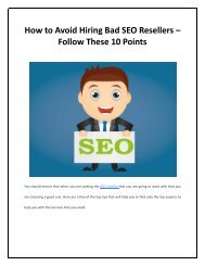 How to Avoid Hiring Bad SEO Resellers – Follow These 10 Points