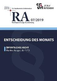 RA 07/2019 - Entscheidung des Monats