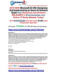 [2019-July-Version]New Braindump2go AI-100 PDF Dumps Free Share(Q12-Q22)