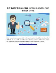 Get Quality Oriented SEO Services in Virginia from Blue 16 Media