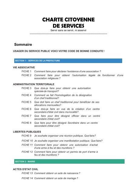 Charte citoyenne de services de Bafoussam