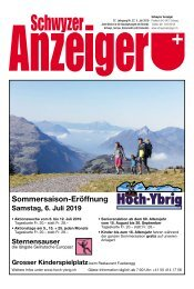 Schwyzer Anzeiger – Woche 27 – 5. Juli 2019