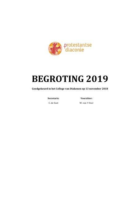 Diaconie - Begroting 2019 verkorte versie voor op website