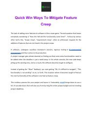 Quick Wins Ways To Mitigate Feature Creep