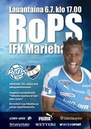 Käsiohjelma RoPS - IFK Mariehamn 6.7.2019