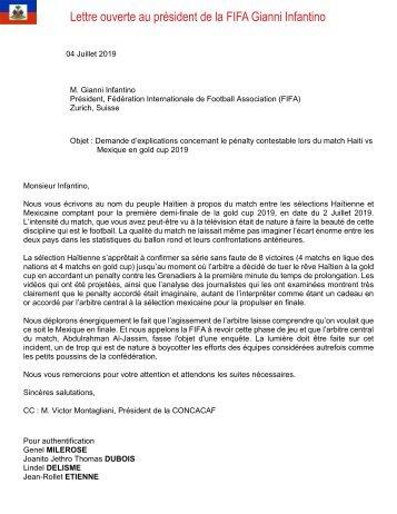 Lettre ouverte au président de la FIFA Gianni Infantino