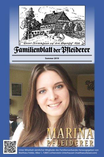 Familienblatt der Pfleiderer, Sommer 2019