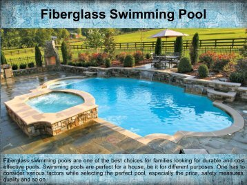 Benifits of Fiberglass Swimming Pools