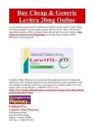 Buy Cheap & Generic Levitra 20mg Online