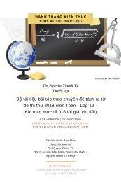 Bộ tài liệu bài tập theo chuyên đề tách ra từ đề thi thử 2018 môn Toán - Lớp 12 - Bài toán thực tế (Có lời giải chi tiết)
