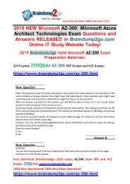 [2019-July-Version]Braindump2go New AZ-300 PDF and AZ-300 VCE Dumps 250Q Free Share