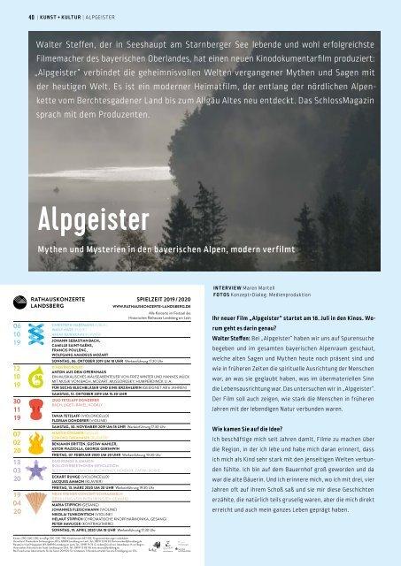 SchlossMagazin Juli 2019 Bayerisch-Schwaben und Fünfseenland