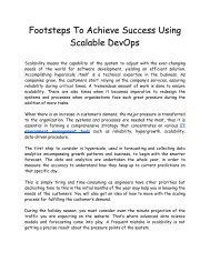 Footsteps to Achieve Success Using Scalable DevOps