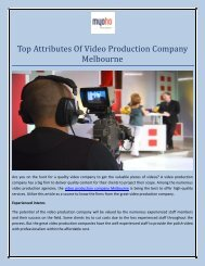 Top Attributes Of Video Production Company Melbourne.