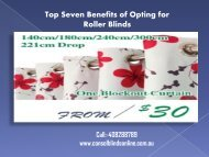 Top Seven Benefits of Opting for Roller Blinds