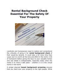Rental Background Check Essential For The Safety Of Your Property