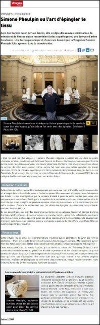 Vosges Matin - Simone Pheulpin ou l'art d'épingler le tissu