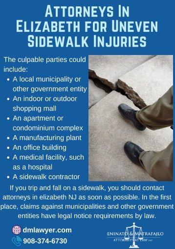 Attorneys In Elizabeth For Uneven Sidewalk Injuries