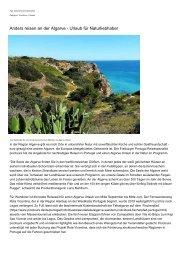Anders reisen an der Algarve - Urlaub fuer Naturliebhaber