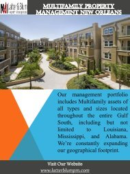 Multifamily Property Management New Orleans | Call -(504)483-7028 | latterblumpm.com