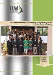 Post-Graduate Programme in Management for ... - IIM Ranchi