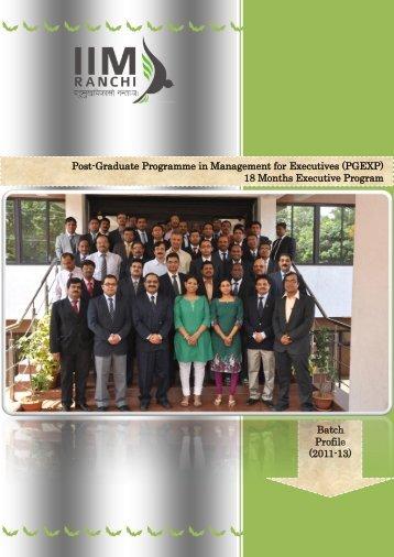 Post-Graduate Programme in Management for ... - IIM Ranchi