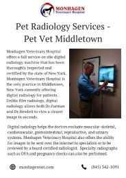Pet Radiology Services -  Monhagen Animal Hospital Middletown